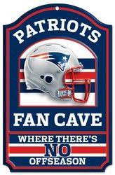 "New England Patriots Wood Sign - 11""x17"" Fan Cave Design"