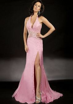 Airy Halter A line Chiffon With Beading Sweep/ Brush Train Evening Party Gowns