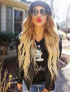 hair and bold lips