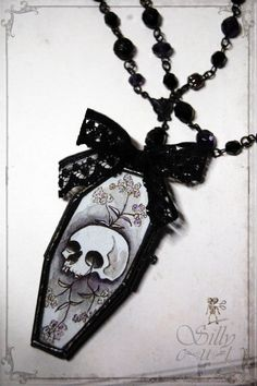 gothic coffin necklace Coffin Locket victorian by sillycut, $79.00