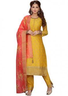 #yellow #embroidered #readymade #salwar #kameez #traditional #indian #salwar #suit #indianfashion #party #wear #collection #eid #2021 #ootd Readymade Salwar Kameez, Churidar, Chanderi Suits, Salwar Suits, Plus Size Suits, Plus Size Dresses, Latest Designer Sarees, Aqua Blue, Coral Pink