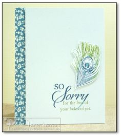 So Sorry  | All supplies Stampin'Up! unless otherwise noted.  Stamps: Fine Feathers, So Sorry;  Colors: Naturals White, Midnight Muse, Old Olive;  Other: Comfort Cafe DSP;    For more yadda-yadda check out my blog: http://carefreecreations.haman.us/2012/07/so-sorry/