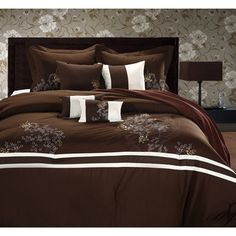 @Overstock - This comforter features Asian-inspired poppy flower embroidery atop a brown background. The 8-piece polyester set is further enhanced by the design of two contrasting beige stripes for a complementary highlight.http://www.overstock.com/Bedding-Bath/Park-Avenue-Brown-ivory-8-piece-Comforter-Set/6707273/product.html?CID=214117 $94.99