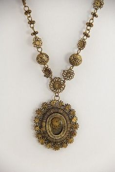 Antique Jewelry Tambourin Filigree Bead Reliquary Necklace Philippines   eBay