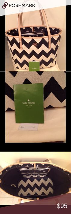 Kate Spade Canvas Tote in B&W chevron pattern Great summer Kate Spade tote bag in canvas. White color is more a natural white than a super bright white. Holds a lot + Black & white goes with everything effortlessly! 🐼 Beautiful condition! Authenticity card and price tag shown. kate spade Bags Totes