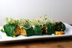 Collard Sushi with Hummus and Mango Carrot Salad - Coastal Cooking