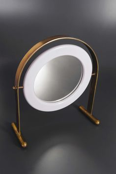 Ettore Sottsass; Brass, Lacquered Wood and Glass Table Mirror for Poltronova, c1965.