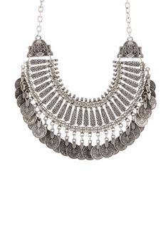 Silver Turkish Coin Bib Necklace