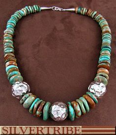 Navajo Indian Jewelry Kingman Turquoise And Genuine Sterling Silver Bead Necklace