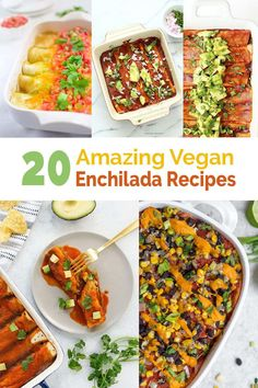 These 20 amazing and delicious enchilada recipes prove vegan food is anything but boring! Vegan Mexican Recipes, Lentil Recipes, Delicious Vegan Recipes, Gf Recipes, Amazing Recipes, Tasty, Yummy Food, Easy Vegan Lunch, Easy Vegetarian Dinner