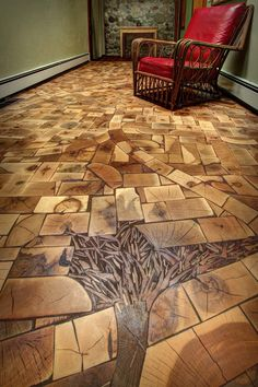 End grain wood flooring is all the rage. Takes a lot of work and planning but for the right area, it becomes a masterpiece! End Grain Flooring, Woodworking Plans, Woodworking Projects, Into The Woods, Wooden Flooring, Plywood Floors, Diy Flooring, Laminate Flooring, Hardwood Floors
