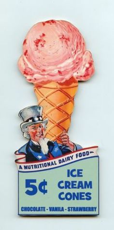 Uncle Sam Dairy Food Ice Cream Cones Wall Plaque Decor Sign Vtg Style | eBay