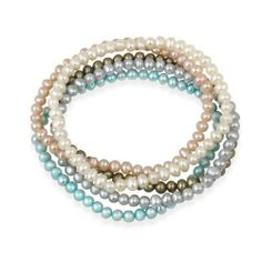 4-4.5mm White, Peach, Gray, Bronze, Teal Freshwater Cultured Pearls Stretch Bracelets, Set of 5 SilverSpeck. $19.99. Save 50% Off!