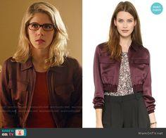 Felicity's burgundy jacket on Arrow.  Outfit Details: http://wornontv.net/54592/ #Arrow