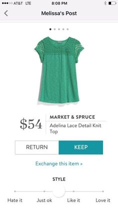 Market & Spruce Adelina Lace Detail Top - green - Stitch Fix This color is my jam! Stitch Fix Outfits, Stitch Fix Stylist, Look Fashion, Lace Detail, Style Me, Classic Style, What To Wear, Just For You, Style Inspiration