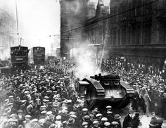 War tanks in Glasgows- 1919  years of working-class resistance in Glasgow led to Bloody Friday, 1919, after which Westminster sent in troops, tanks and artillery. Trongate, Glasgow