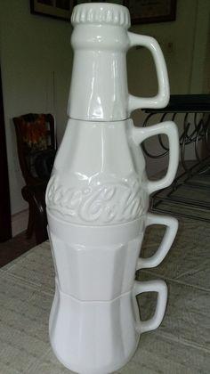 1996 COCA COLA COMPANY Mug Creamer Sugar Set Stackable Bottle RARE #CocaCola