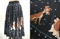 50s Black Disney Dog Lady and The Tramp Love Heart Full Circle Retro Skirt XS.