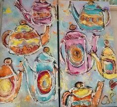 undefined Pastel, Painting, Kunst, Cake, Painting Art, Paintings, Painted Canvas, Crayon Art, Drawings