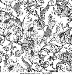 Vintage floral baroque seamless pattern with blooming magnolias, roses and twigs, vector illustration