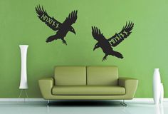 Huginn and Muninn Wall Decals - Large Size:+46+in+by+22+in+(117cm+by+56cm) (also+available+in+Small) Please+note+the+size+shown+in+the+example+may+not+be+the+same+as+the+size+listed+since+the+same+image+is+used+for+all+the+size+options.+Please+measure+the+area+you+would+like+to+apply+your+decal+to+and+compare+it+to+the+size+liste...
