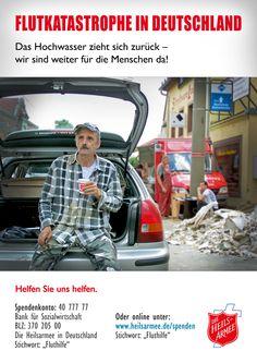 Plakat einer Spendenkampagne zugunsten der Hochwasser-Einsätze der Heilsarmee in Deutschland im Juni 2013. Alle Plakate gibt's unter http://www.heilsarmee.de/hilf-mit.html
