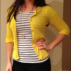 juicy couture cardigan Bright yellow juicy couture cardigan with gold buttons and small pockets. Very lightweight and breathable. I love the gold buttons with a sparkly gold necklace Juicy Couture Sweaters Cardigans