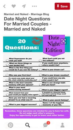 Bring back the fun in your date nights and get to know each other all over  again with this free printable of Questions; Date Night Edition.