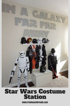 Star Wars Costume Station - perfect for kids who love to dress up and moms and dads who like to organize. Star Wars Bedroom, Star Wars Nursery, Lego Bedroom, Bedroom Themes, Kids Bedroom Boys, Boys Room Decor, Childs Bedroom, Kid Bedrooms, Boy Rooms