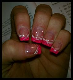 My Nails In Hot Pink I Miss Acrylics Nail Designs