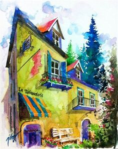 Chambéry France II - watercolor by ©Tilen Ti (via DailyPaintworks)
