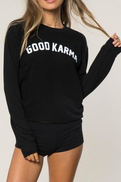 "This Spiritual Gangster brand ""Good Karma: crop sweatshirt is so comfortable you will want to wear every day. It looks so cute with your favorite jeans or with your workout gear.  Good Karma Sweatshirt by SPIRITUAL GANGSTER. Clothing - Tops - Graphic Tees Miami Florida"