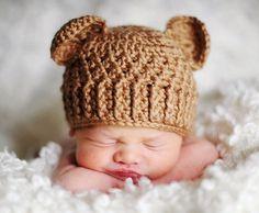 Newborn Teddy Bear Hat from The Crochet Sisters