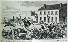Drawing by Adrian Sharp depicting the shooting of Lieutenant Colonel Robert Moodie at Montgomery's Tavern, December 4, 1837, when he confronted the gathered rebels.