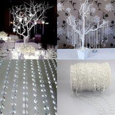 33FT Garland Diamond Clear Acrylic Crystal Bead Curtain Wedding Party DIY Decor  | eBay