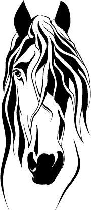 Stylized Horse Head Decal, approx 6 high. Available in black or white.