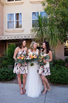 The Girls! Maid of Honor, bride's sister, and the Best Woman, groom's sister, with our beautiful bride! (Photo by Mary Sandy Photography, Flowers by Garden Gate Flowers @gardengateaz , @tahneejean )