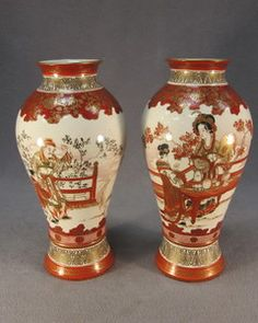 Pair of Japanese Kutani porcelain vases