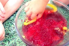 Edible sensory play - jello worms and jelly - great for little kids who still put everything in their mouth!