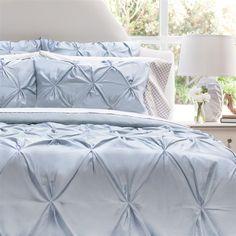 #3295 Valencia French Blue Pintuck Duvet Cover & Shams YOU PAY 1/2 DOWN
