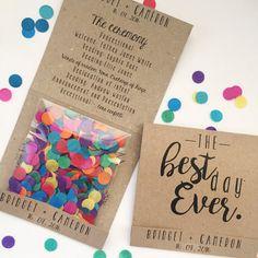 Confetti Wedding Program. Country, rustic, vintage, party.