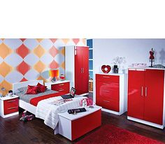Red bedroom furniture turns up the heat!  Coca-Cola theme minus wall design.
