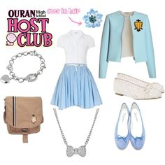 Ouran Highschool Host Club Uniform (Girls) by dancergirl2524 on Polyvore featuring J.W. Anderson, River Island, Repetto, Links of London, Talullah Tu, Tarina Tarantino, anime, ouran highschool host club, cosplay and ohshs