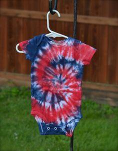 3-6 month Patriotic Tie Dye Short Sleeved Onesie by wumzydesigns