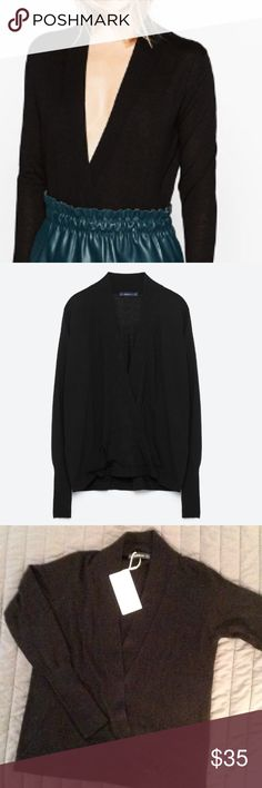 Zara New w/tag knit sweater deep V. $35 size small Zara New w/tag soft knit sweater deep V. $35 size small. Great to wear with anything. Not thick or heavy knit where it makes you look bulky. Flattering! Zara Tops Sweatshirts & Hoodies