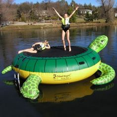 Turtle Hop Water Bouncer for $589 #CozyDays #WaterTrampolines #PoolBeach