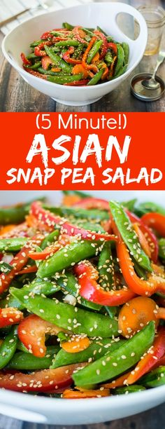 Busy weeknights, last minute potlucks, and overly-complicated main dishes all call for this super-easy and super-quick Asian Snap Pea Salad.