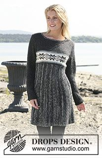 """Ravelry: dress in """"Alpaca"""" and """"Fabel"""" with star pattern border pattern by DROPS design Knitting Patterns Free, Knit Patterns, Dress Patterns, Free Pattern, Border Pattern, Free Knitting, Knit Skirt, Knit Dress, Dress Skirt"""
