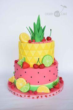 Bolo Tropical por cherry_red_cake Inspire-se e Faa a Festa shopfesta Fruit Birthday Cake, Watermelon Birthday, Hawaii Birthday Cake, Watermelon Cakes, Red Cake, Summer Cakes, Gateaux Cake, Fruit Party, Cute Cakes
