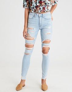 6a0378b5814e American Eagle Outfitters Men's & Women's Clothing, Shoes & Accessories.  Light Ripped JeansSkinny ...